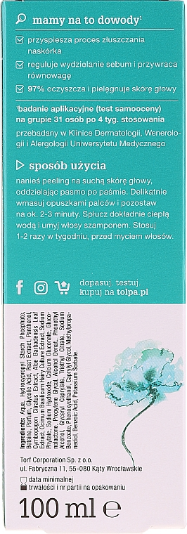 Scrub tricologic pentru scalp - Tolpa Dermo Hair Peeling — Imagine N2