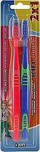Parfumuri și produse cosmetice Set perii de dinți pentru copii, albastru + roșu - Kin Junior Toothbrush Pack
