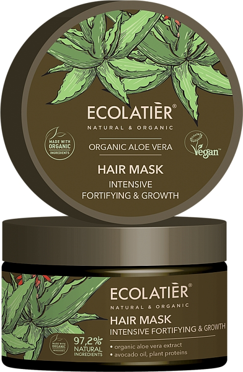 """Mască de păr """"Consolidare și creștere intensivă"""" - Ecolatier Organic Aloe Vera Hair Mask"""