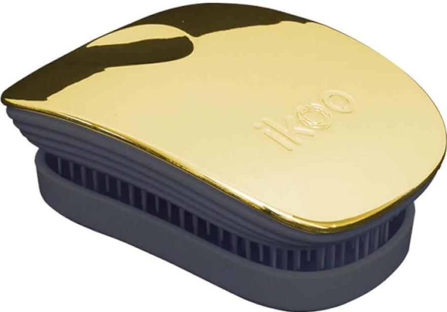 Perie de păr - Ikoo Pocket Soleil Metallic Black — Imagine N1