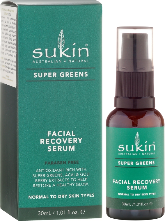 Ser regenerant pentru față - Sukin Super Greens Facial Recovery Serum — Imagine N1