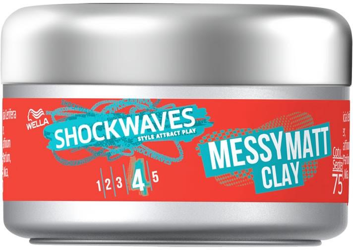 Argilă pentru păr - Wella Shockwaves Messy Matt Clay — Imagine N1