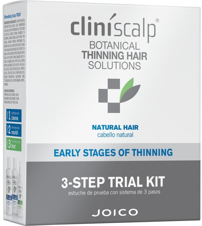 Set pentru îngrijirea părului natural - Joico Cliniscalp 3-step Trial Kit For Natural Hair Early Stages (shmp/100ml + cond/100ml + treat/50ml) — Imagine N1