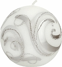 Parfumuri și produse cosmetice Lumânare decorativă, bilă, albă cu decorații, 8 cm - Artman Christmas Ornament