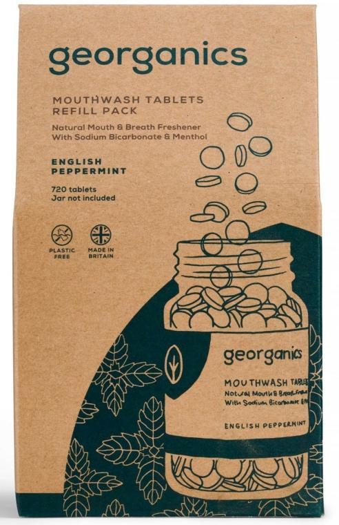 """Tablete pentru apă de gură """"English Mint"""" - Georganics Mouthwash Tablets Refill Pack English Peppermint (rezervă) — Imagine N1"""