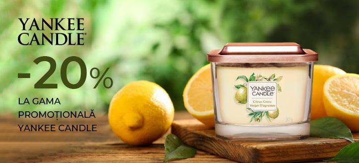 Reducere 20% la gama promoțională Yankee Candle. Prețurile pe site sunt prezentate cu reduceri