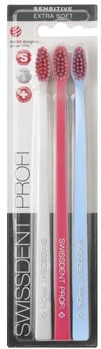 Set periuțe de dinți, moale, alb+roz+albastru - SWISSDENT Profi Gentle Extra Soft Trio-Pack — Imagine N2