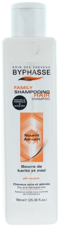Șampon pentru păr uscat și deteriorat cu miere și unt de shea - Byphasse Family Shampoo Shea Butter and Honey Dry And Damaged Hair — Imagine N1