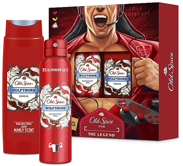 Set - Old Spice Wolfthorn Gamer (deo/spray/150ml + sh/gel/250ml) — Imagine N1