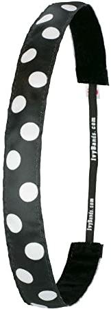 Bandă pentru păr, negru - Ivybands Black/White Dots Hair Band — Imagine N1