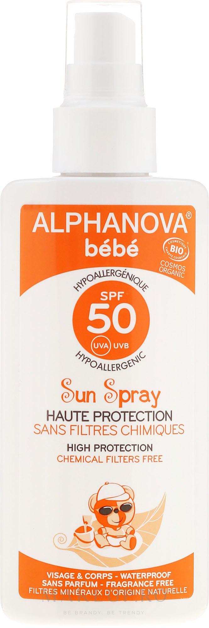 Spray protecție solară pentru copii SPF 50+ - Alphanova Baby Sun Protection Spray SPF 50 — Imagine 125 g