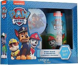 Parfumuri și produse cosmetice Set - Uroda Paw Patrol Boy (sh/gel/250ml + sponge + stickers)