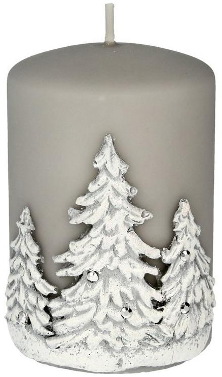Lumânare aromatică, 7x10 cm, Copaci de Crăciun, gri - Artman Christmas Tree Candle — Imagine N1