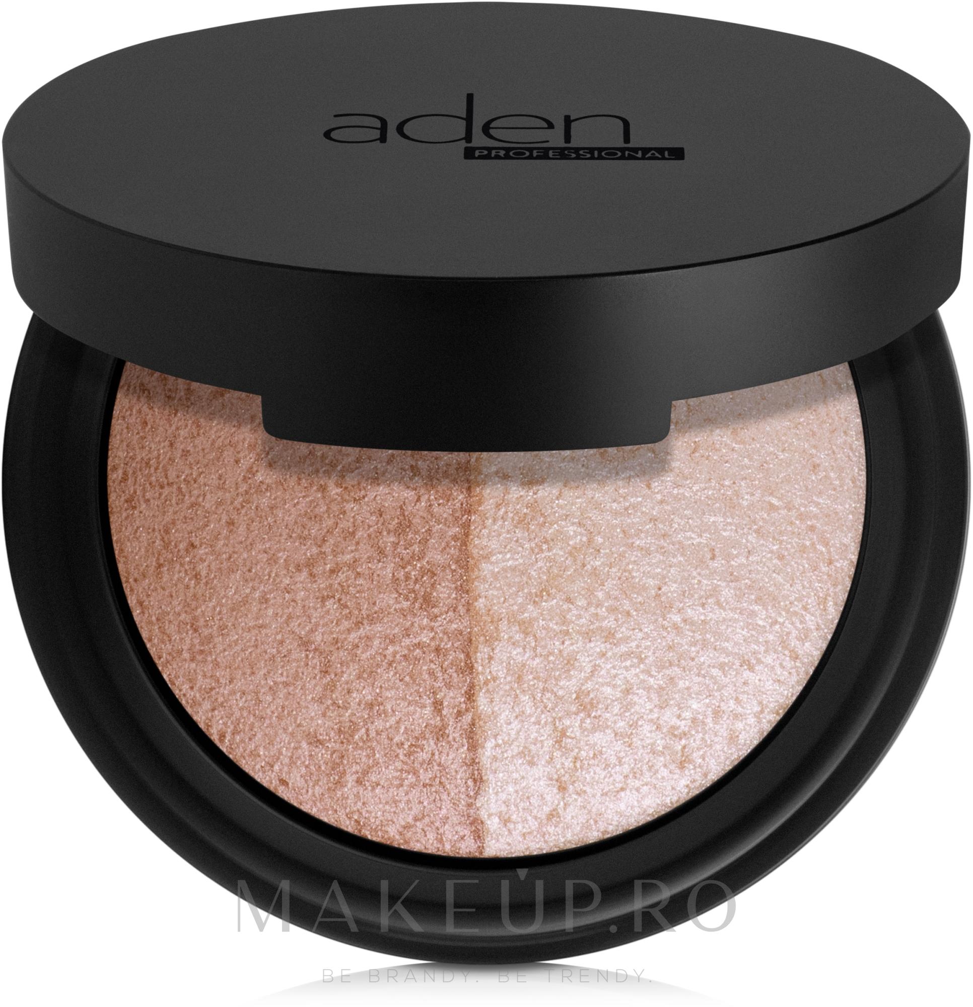 Paletă de nuanțe pentru machiaj - Aden Cosmetics Highlighter & Bronzer Duo — Imagine 7 g