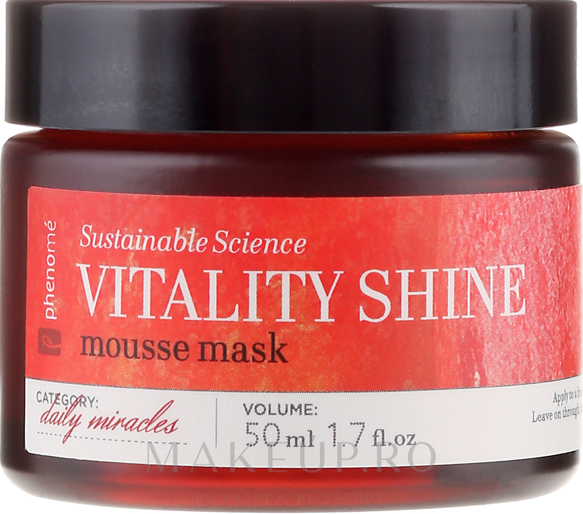 Mască de față - Phenome Sustainable Science Vitality Shine Mousse Mask — Imagine 50 ml