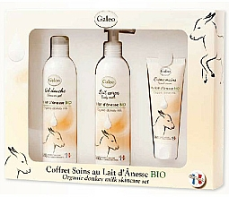 Parfumuri și produse cosmetice Set - Galeo Organic Donkey Milk Scincare Set (sh/gel/250ml + b/milk/250ml + h/cr/75ml)