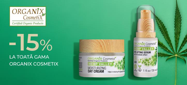 Reducere 15% la toată gama Organix Cosmetix. Prețurile pe site sunt prezentate cu reduceri