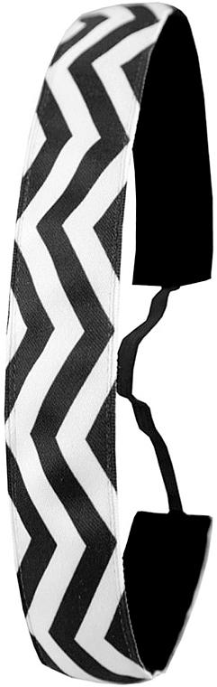 Bandă elastică pentru păr, alb-neagră - Ivybands Chevron Black White Hair Band