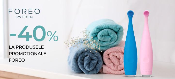 -40% la produsele promoționale Foreo. Prețurile pe site sunt prezentate cu reduceri