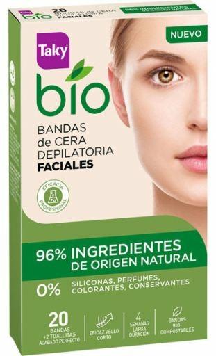 Benzi depilatoare pentru față - Taky Bio Natural 0% Face Wax Strips — Imagine N1