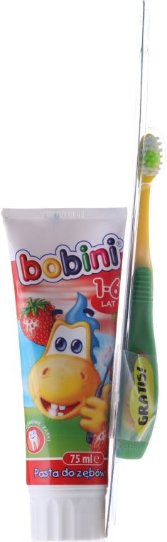 Set pastă+periuță, galben-verde - Bobini 1-6 (toothbrush + toothpaste/75ml) — Imagine N3