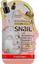 """Parfumuri și produse cosmetice Mască 3D de țesut """"Multi-step + ser"""" - Purederm Snail Cell Illuminating Multi-step Treatment"""