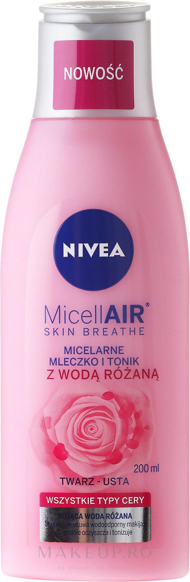 Tonic-Lăptișor micelar + apă de trandafir - Nivea MicellAir Skin Breathe — Imagine 200 ml