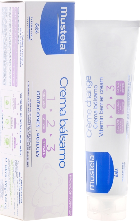 Cremă împotriva iritației de scutec Vitamin Barrier 1-2-3 - Mustela Bebe 1 2 3 Vitamin Barrier Cream