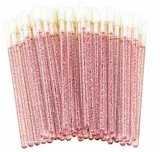 Parfumuri și produse cosmetice Aplicatoare de velur cu glitter pentru gene, sprâncene și buze, roze - Lewer