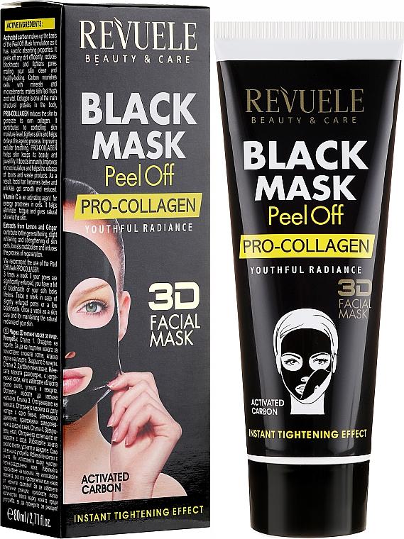 """Mască neagră pentru față """"Procolagen"""" - Revuele Black Mask Peel Off Pro-Collagen"""