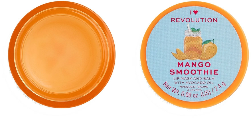 Balsam-mască de buze - I Heart Revolution Mango Smoothie Lip Mask & Balm — Imagine N1