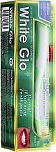 Parfumuri și produse cosmetice Set cu periuță alb-verde - White Glo Herbal White (t/paste/100ml + t/brush/1pc)