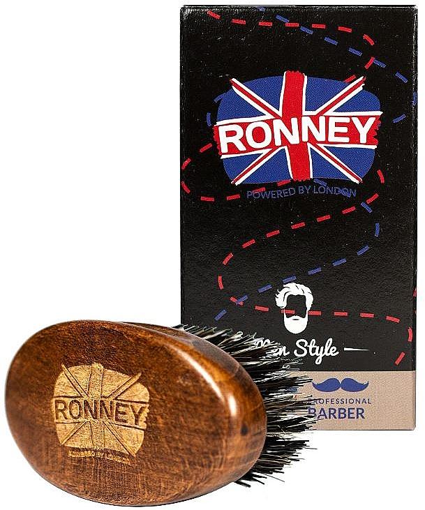 Perie din lemn, cu peri naturali, pentru barbă, închisă la culoare - Ronney Professional Barber Small Brush — Imagine N2