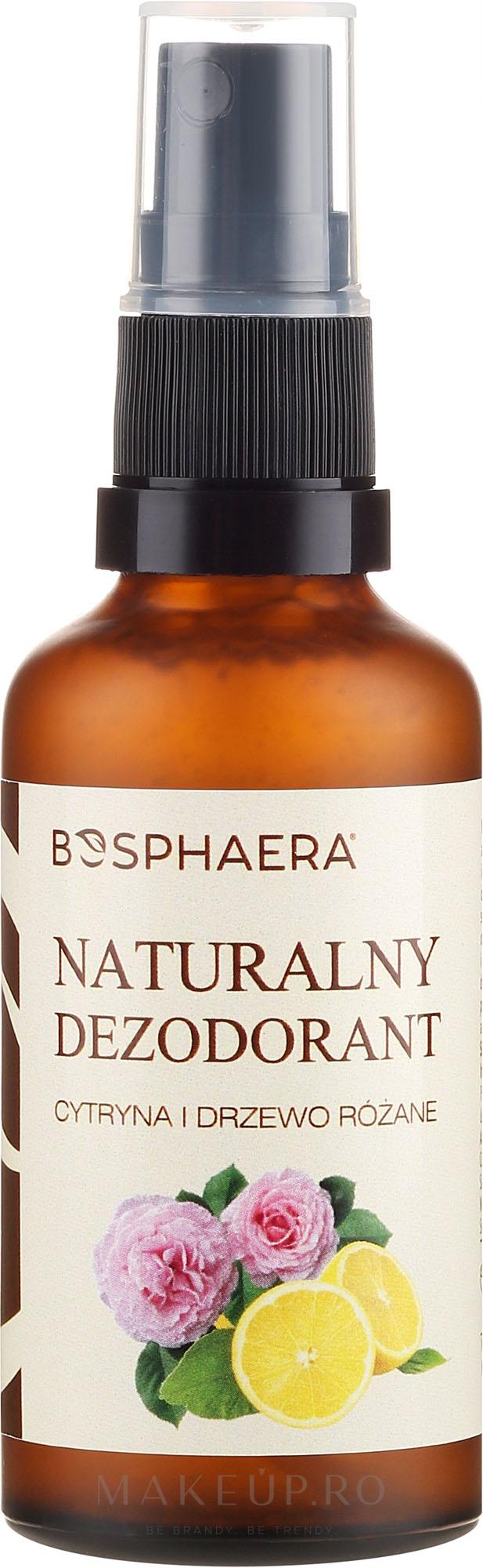 Deodorant natural cu lămâie și trandafir - Bosphaera — Imagine 50 g