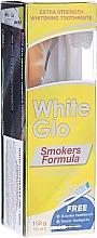 "Parfumuri și produse cosmetice Set ""Pentru fumători"", perie verde deschis - White Glo Smokers Formula Whitening Toothpaste (t/paste 100 ml + t/brush + toothpicks)"