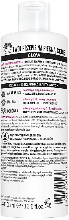Apă tonică micelară pentru toate tipurile de piele - AA Granola Bowls Micellar Water And Tonic 2 in 1 — Imagine N2