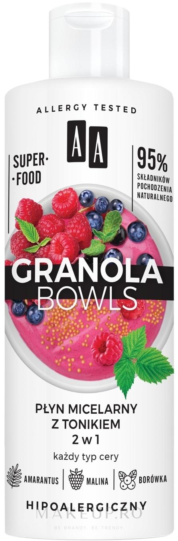 Apă tonică micelară pentru toate tipurile de piele - AA Granola Bowls Micellar Water And Tonic 2 in 1 — Imagine 400 ml