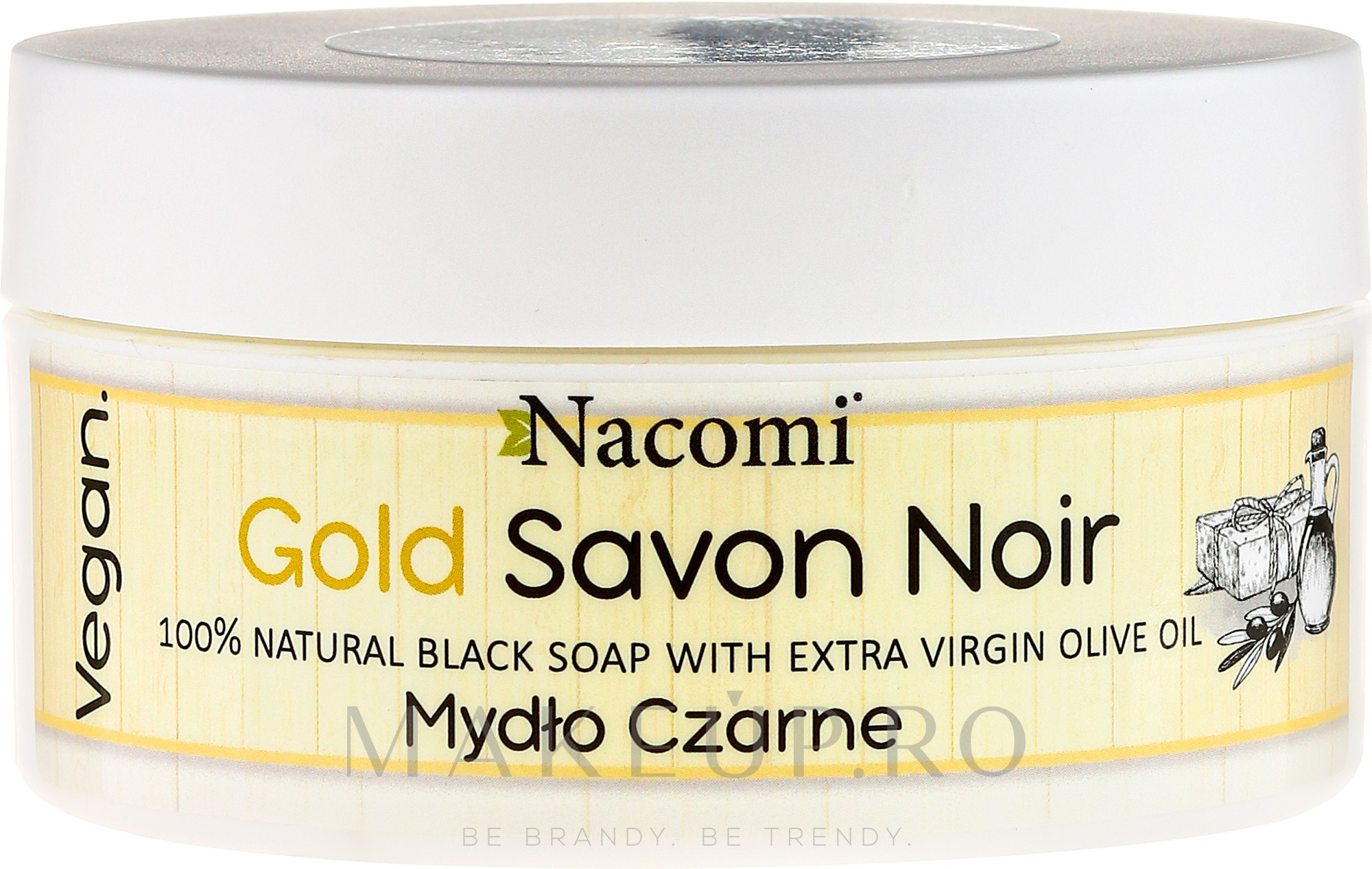 Săpun negru cu ulei de măsline - Nacomi Savon Noir Natural Black Soap with Extra Virgin Olive Oil — Imagine 125 g