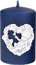 Parfumuri și produse cosmetice Lumânare decorativă, albastru-închis, 7x10 cm - Artman Amore