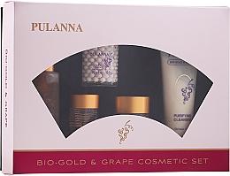 Parfumuri și produse cosmetice Set - Pulanna Bio-gold & Grape (f/cr/2x58g + eye/cr/21g + f/ton/90g + f/milk/90g)