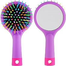 Parfumuri și produse cosmetice Perie cu oglindă pentru păr, purpuriu - Twish Handy Hair Brush with Mirror Lavender Floral