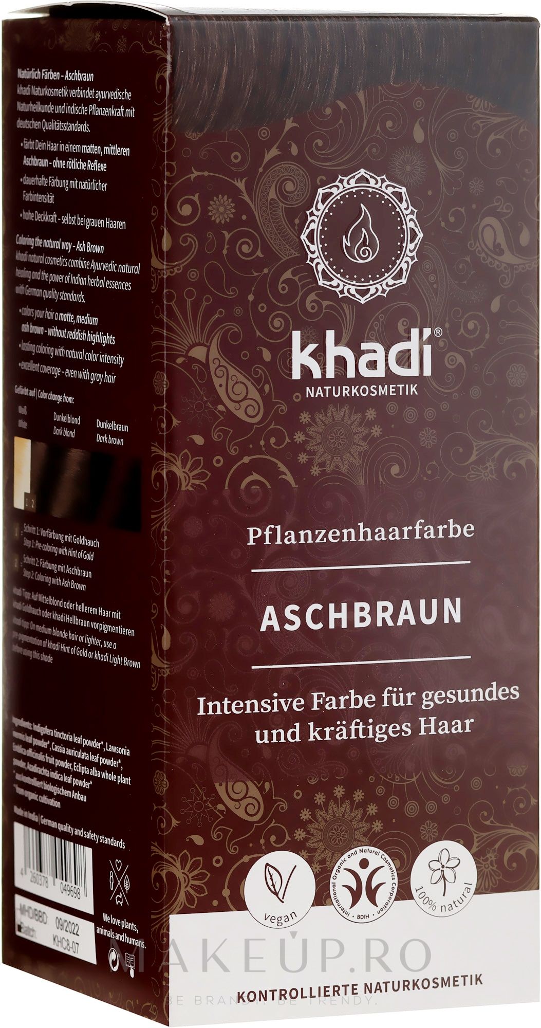Vopsea organică de păr - Khadi Haarfarbe — Imagine Ash Brown