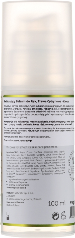 Cremă hidratantă pentru mâini - Naturativ Relaxing Hand Balm Lemongrass — Imagine N2