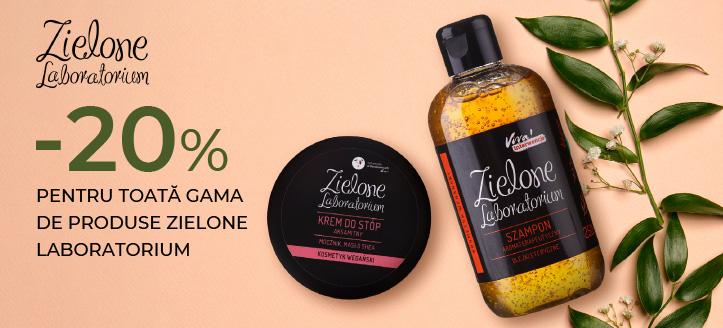 Reducere -20% pentru toată gama de produse Zielone Laboratorium. Prețurile sunt afișate pe site cu reducerea inclusă
