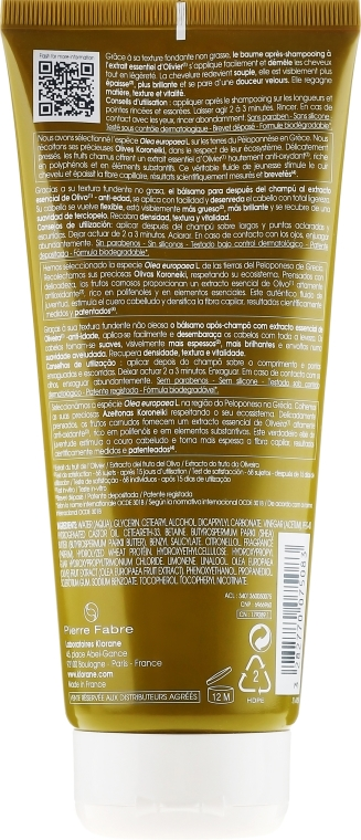 Balsam pentru păr - Klorane Thickness & Vitality Conditioner With Essential Olive Extract — Imagine N2