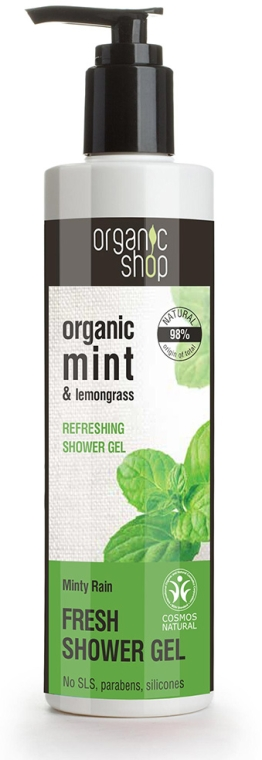 "Gel revigorant de duș ""Ploaie de mentă"" - Organic Shop Organic Mint and Lemongrass Fresh Shower Gel — Imagine N1"