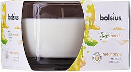 """Parfumuri și produse cosmetice Lumânare aromată în suport de sticlă """"Mango și Bergamotă"""", 63/90 mm - Bolsius True Moods Candle"""