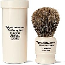 Parfumuri și produse cosmetice Pămătuf de ras, 8,5 cm, cu husă de călătorie - Taylor of Old Bond Street Shaving Brush Pure Badger