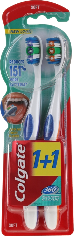 "Periuța de dinți ""Super Clean"", moale, portocaliu+mov - Colgate 360 Whole Mouth Clean Soft — Imagine N1"