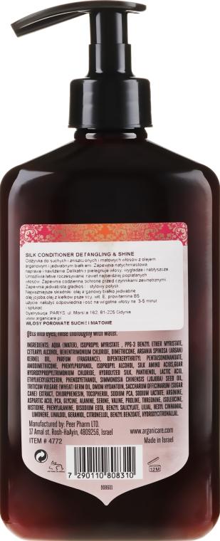 Balsam regenerant cu proteine de mătase pentru păr - Arganicare Silk Restructuring Conditioner — Imagine N2